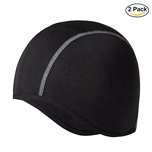 Houmous [BLACK 2 PACK] Winter Cycling Thermal Skull Cap Helmet Liner with Ear Covers for Men-Perfect under Helmets