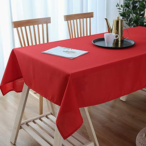 Lespoir Table Cloth Christmas Dining Table Cloths Water Resistant Spill-Proof Fabric Rectangle Tablecloth for Kitchen Room Elastic Table Cloths Rectangle Red Tablecloths 54x72 Inch (Dining Christmas Tables)