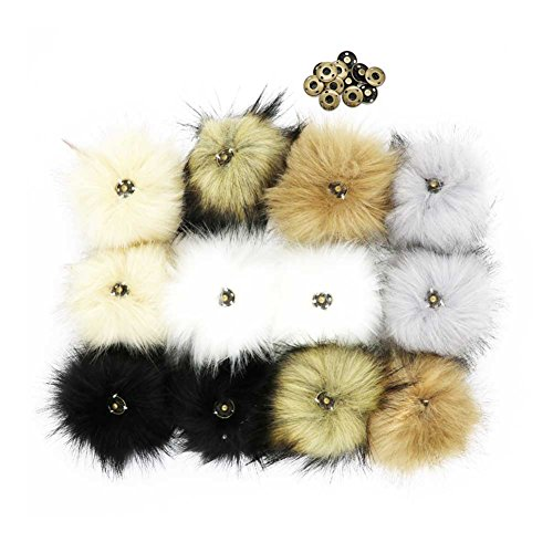 DIY Faux Fox Fur Pompom with Press Button,bags,clothes, Popular Mix Colors 12 pcs by K-SAN
