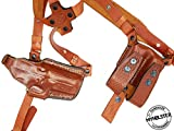 1911 semi-Autos 4' to 5' Horizontal Shoulder Holster System Right Hand Draw with Double Mag Pouch, MyHolster (Brown)