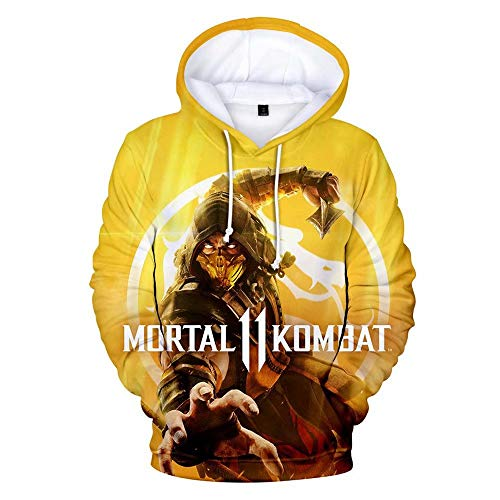 Flyer Kombat Sweatshirt Costume Halloween Hot Game Cosplay 3D Printed Hoodie (Men-M, Yellow) -