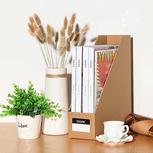TIANSE File Magazine Holder, Desk Storage Organizer for Office Home, Kraft Paper(Pack of 3) Photo #7