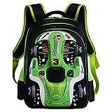 oofay School Bag For Boys 3D Racing Shouders Bag 6-12 Years Old Children Backpack 12.5 * 9.4 * 16.9Inch,Green