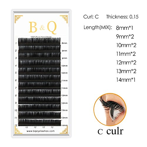 Professional Lashes Extension Individual Eyelash Classic Eyelashes Silk eyelash Volume Eyelash 12 Rows/Tray,8-14 Length,0.07-0.20 Thickness (C curl,0.15mm,8-14mm MIX)