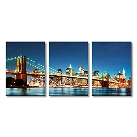 Brooklyn Bridge Canvas Wall Art Blue Modern Cityscape Painting New York City Night View Scene ()