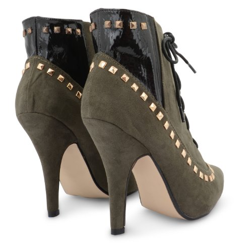 New Ladies Dolcis Studded Lace Up Stiletto tacón alto Vintage Botines UK 3 –