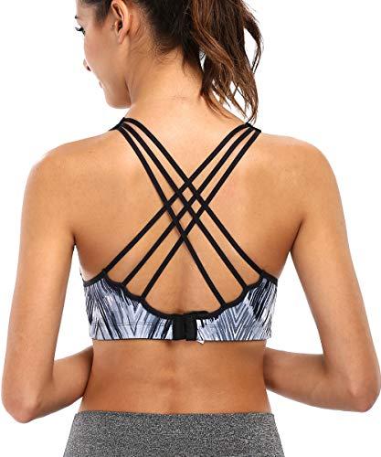 (V FOR CITY Women Sports Bra Strappy Back Criss Cross Back Sports Medium Impact )