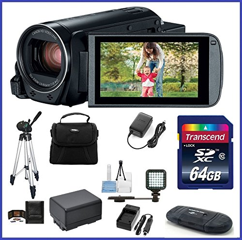 Canon VIXIA HF R82 Full HD Camcorder Ultimate Bundle, includes: 64GB SDXC Memory Card, LED Light, Tripod, Spare Battery and more... by Canon