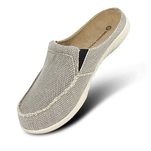 Mens Slippers with Arch Support, Canvas House Slipper for Men with Suede Insole and Velvet Lining, Slip on Clog House Shoes with Indoor Outdoor Anti-Skid Rubber Sole, Grey