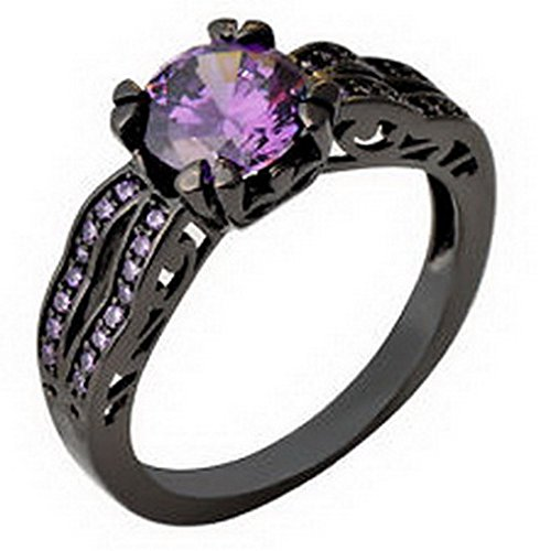 jacob alex ring Purple Amethyst Black Gold Filled Antique Style Wedding Ring Women Jewelry Size6