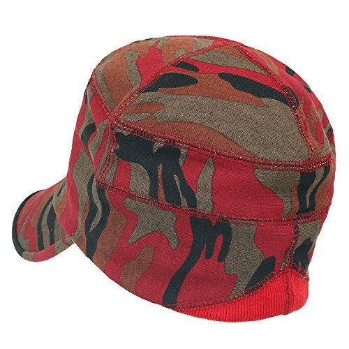 Fit Military Casual Pattern Work Hat ililily Cap Flex Cotton Red Soft Camouflage fZxYg