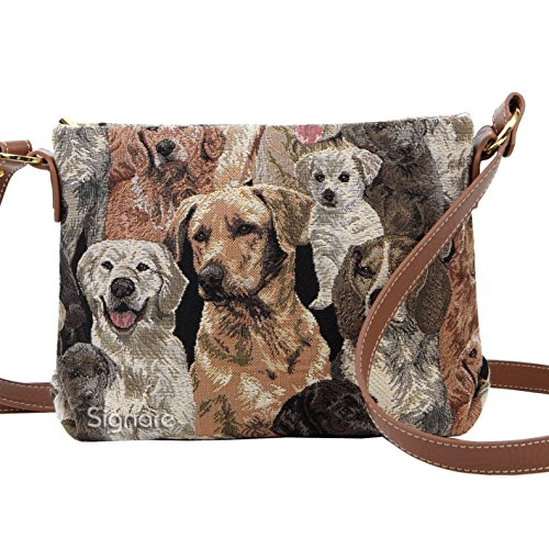 Labrador Dog Print - Labrador Dog Print Women's Tapestry Mini Satchel Cross-body Purse Bag with Adjustable Strap also as Small Shoulder Bag by Signare (XB02-LAB)