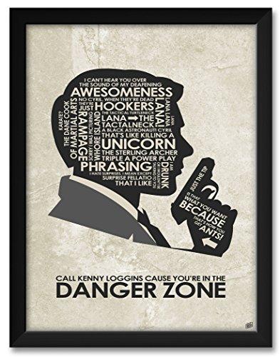 Northwest Art Mall Sterling Archer Danger Zone Framed Art Print by Stephen Poon. Print Size: 18