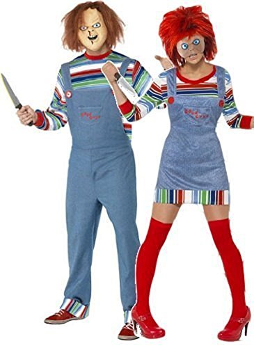 Fancy Me Women's And Chucky Doll Film Couple Halloween Horror Fancy Costume UK 8-10 & Mens Large Multicoloured ()