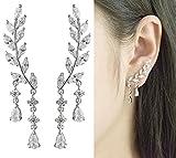 CIShop''SpringWaking'' Elegant Leaf Simulated Diamond Stud Earrings Ear Climber 925 Sterling Silver Post