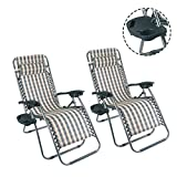2pcs Outdoor Zero Gravity Lounge Chair Beach Patio Pool Yard Folding Recline With a cup stand (Stripe)