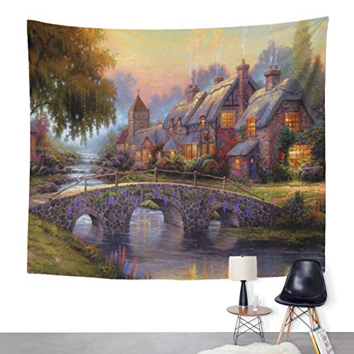 ArtSocket Tapestry Manual Thomas Kinkade Proverb Cobblestone Bridge Home Decor Wall Art Hanging for Living Room Bedroom Dorm 50 x 60 Inches Tapestry