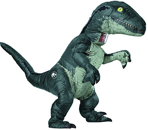 Three Halloween Costume Ideas (Rubie's Adult Official Jurassic World Inflatable Dinosaur Costume, Velociraptor with Sound,)