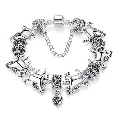 Buy Carina Sterling Silver Plated Pandora Trendy Love Charm Bracelet