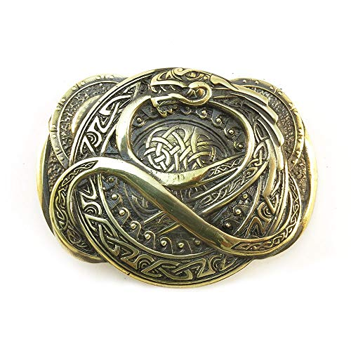 Man or Woman Belt Buckle Dragon Jormungand made from Solid Brass