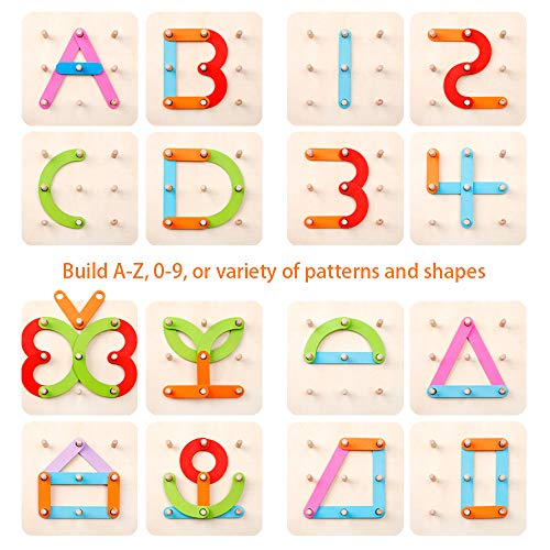 Wooden Letter and Number Construction Activity Board Sort Game Educational Preschool Toys Shape Color Recognition Pegboard Sorter Set Board Blocks Stack Sort for Toddler Kids Non-Toxic Toy