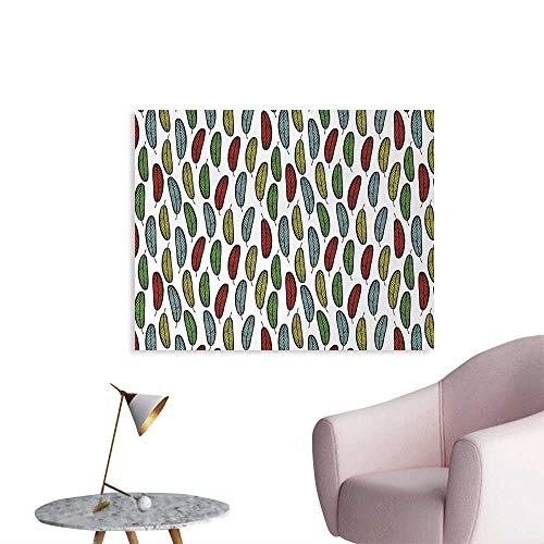 - Tudouhoho Autumn Wall Poster Colorful Pattern with Falling Leaves Fall Season Forest Elements Botany Eco Theme Wall Sticker Decals Multicolor W36 xL32