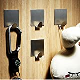 KES A7062-P4 Bathroom Self Adhesive Towel and Robe Hook by 3M Adhesive, Brushed Stainless Steel, 4 Pieces Bild 3