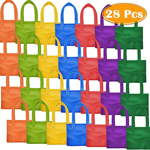 PAXCOO 28 Packs 7 Colors Party Favor Tote Gift Bags Non-woven Goodie Treat Bags with Handles for Kids Birthday, 6 x 6 Inch