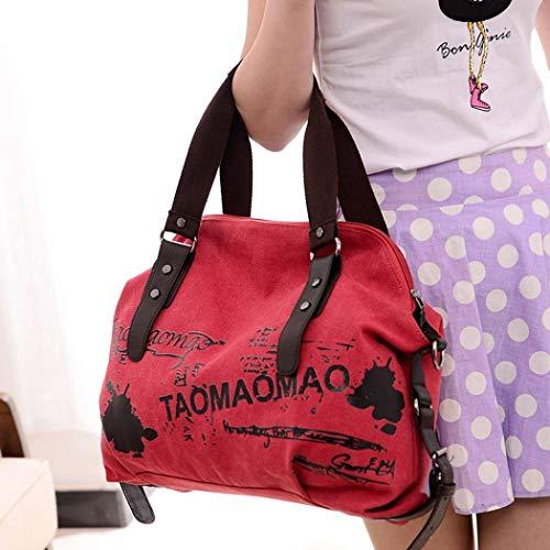 de Bolsos Shoppers de para Rojo Hombro estudiante Bolso mensajero Logobeing Mujer Baratos y Bandolera Grande Grande Bolso Lona wqRFzR