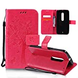 OuDu Printing Pattern Case for Motorola Moto X Play PU Leather Cover Flip Wallet Shell Silicone Inner Skin Book Style Bumper Tree&Butterfly Elegant Sleeve - Rose