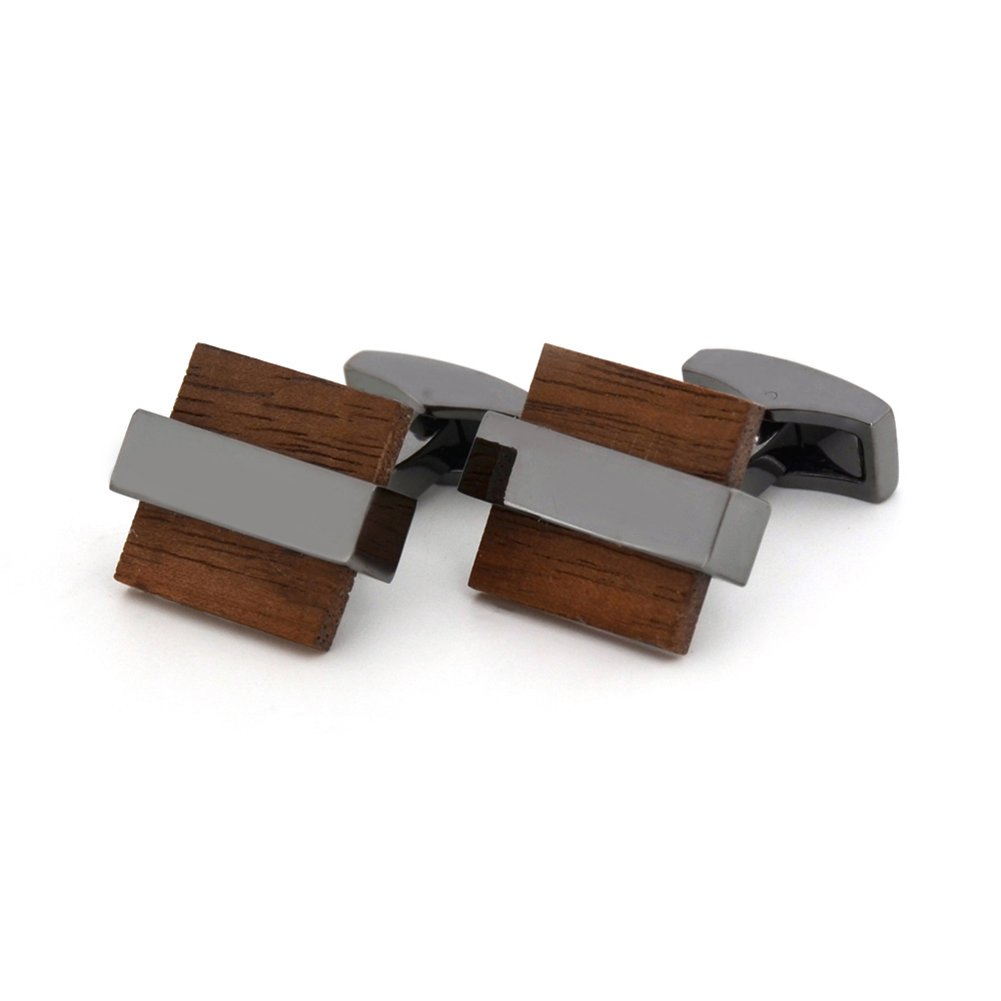 Mr.Van Natural Wood Cufflinks Men's Handcrafted Square Wood Cuff Links Set Classic Wedding Business Gift for Men by Mr.Van (Image #3)