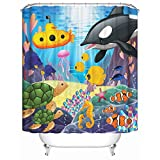 Shower Curtain 71 X 71 Inches with 12 Hooks - 100% Woven Polyester Unique Design