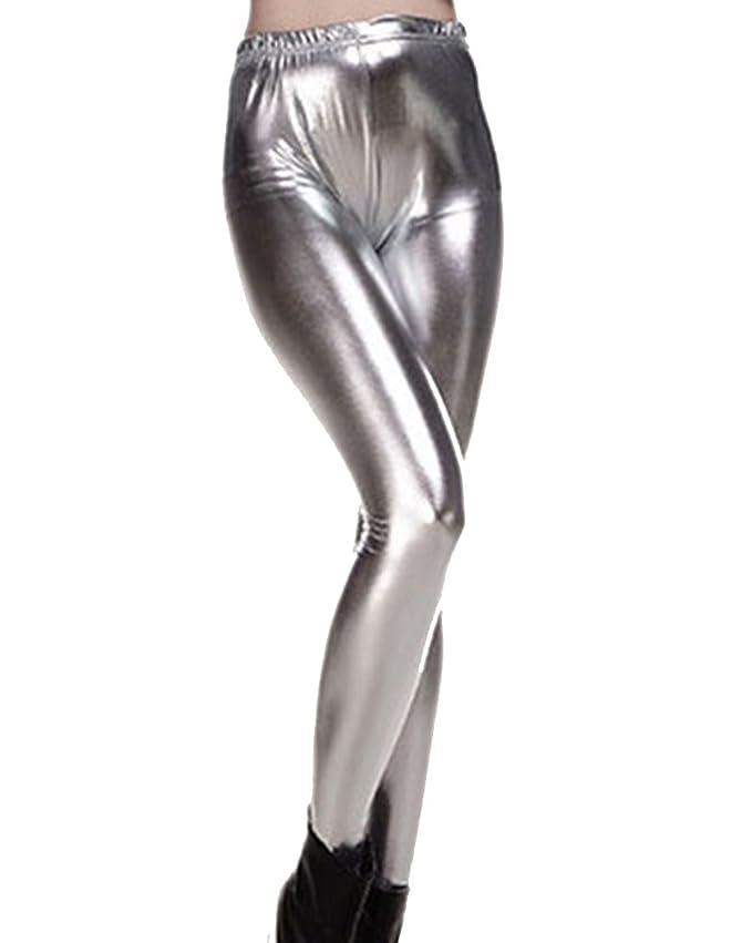 Guiran Mujer Skinny Pantalones Elástico Flacos Leggings Push Up Brillante  Metálico Leggins Plata Talla única  Amazon.es  Deportes y aire libre aad53b9e4faa