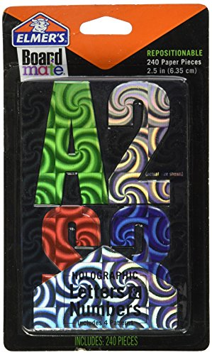 ELMERS Board Mate Repositionable Holographic Paper Letters & Numbers, 2.5