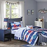 Mi Zone Kids Sealife Full Kids Bedding Sets for Boys - Blue, Octopus – 8 Pieces Boy Comforter Set – Ultra Soft Microfiber Kid Childrens Bedroom Comforters