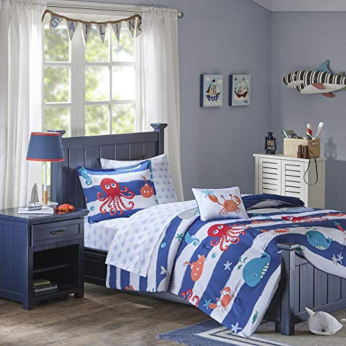 Mi Zone Kids Sealife Twin Kids Bedding Sets for Boys - Blue, Octopus - 6 Pieces Boy Comforter Set - Ultra Soft Microfiber Kid Childrens Bedroom Comforters