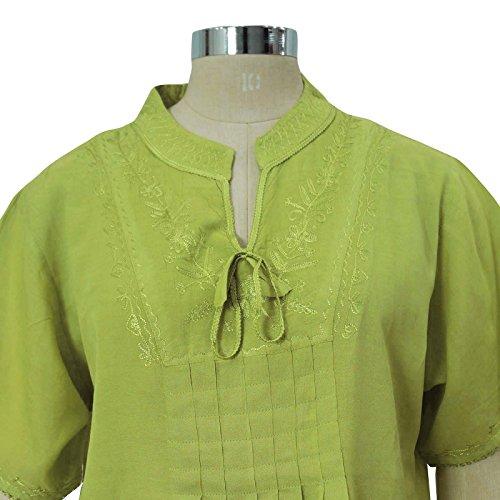 Rayón bordado Top de manga corta blusa de las mujeres Short Kurta Verde