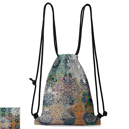 Portable backpack Bohemian Boho Yoga Decor Natural Peacock Feather Batik Hippie Mandala Medallion W14