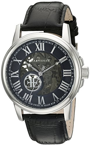 Thomas Earnshaw Men's 'Beagle' Swiss Automatic Stainless Steel and Leather Dress Watch, Color:Black (Model: ES-0028-01)