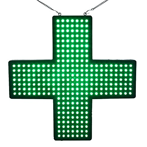 LED Pharmacy Cross Open Sign Super Bright Electric Advertising Display Board for Medicine Drugstore Chemist Clinic Hospital Shop Store Window Bedroom Decor 19 x 19 inches (PH4848-2)]()