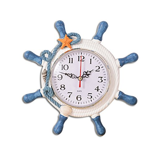 WINOMO Wheel Wall Clock Decoration Nautical Silent Wall Clock with Rope Decor Ticking (Random Color)