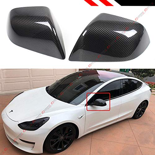 Cuztom Tuning Fits for 2017-2019 Tesla Model 3 Direct Add-on Real Carbon Fiber Side Mirror Covers Cap