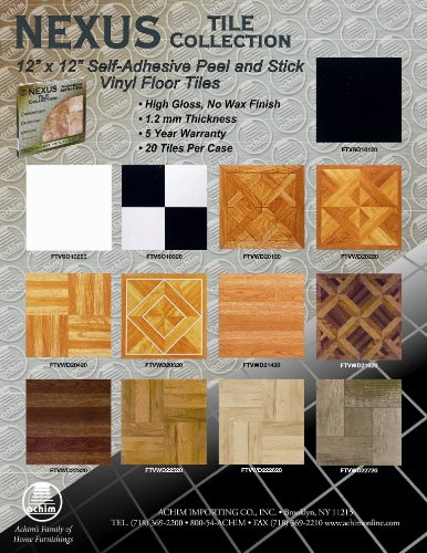 achim home furnishings ftvwd21420 nexus 12inch vinyl tile wood light oak planklook 20pack vinyl floor coverings amazoncom