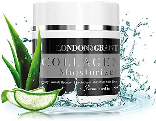 Natural & Organic Collagen Face Moisturizer - Anti Aging Facial Cream - Reduces Appearance of Wrinkles, Dark Circles, Fine Lines & Acne - Formulated with Glycerin & Mineral Oils - 2 fl.Oz (1 Pack)