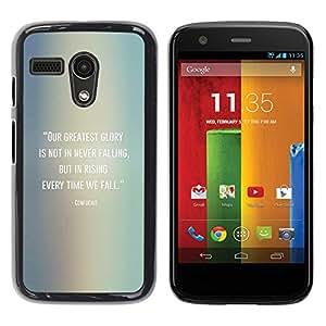 Caucho caso de Shell duro de la cubierta de accesorios de protección BY RAYDREAMMM - Motorola Moto G 1 1ST Gen I X1032 - Confucius Quote Falling Get Up