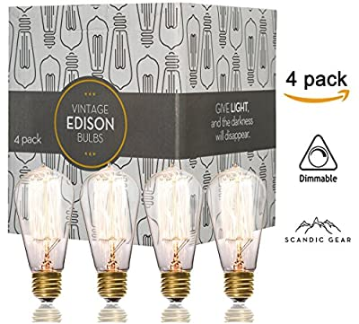 Edison bulbs - 4 pack of 60 watt Teardrop Filament Vintage Incandescent Light bulb E26 E27 ST58
