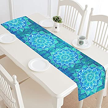 InterestPrint Abstract Bohemian Blue Flower Polyester Table Runner Placemat  16 X 72 Inch, Ethnic Floral