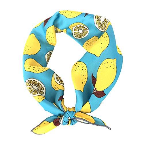 (GERINLY Womens Neckerchief - Yellow Lemon Print Square Hair Scarf Headband (Light Blue))