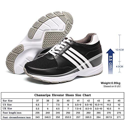 CHAMARIPA Chaussures de Course à Pied Pour Hommes Chaussures à Talons Hautes en Hauteur avec des Rayures Blanches 8.5cm/3.35 Taller-022H01
