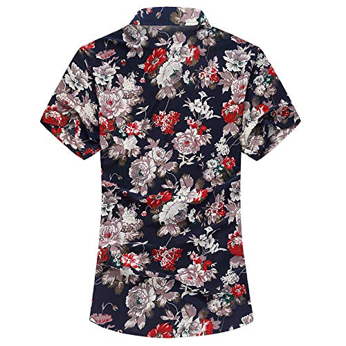 IYFBXl Mens Asian Size Cotton Shirt Solid Colored Shirt Collar